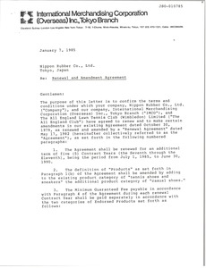 Thumbnail of Letter from Arthur J. Lafave to Nippon Rubber Co., Ltd.