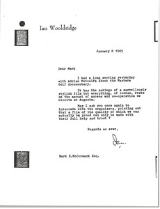 Thumbnail of Letter from Ian Wooldridge to Mark H. McCormack