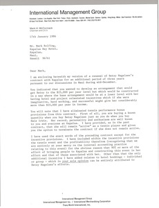 Thumbnail of Letter from Mark H. McCormack to Mark Rolfing