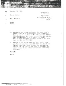 Thumbnail of Memorandum from Haji Fukuhara to Peter German