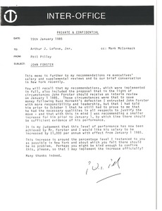 Thumbnail of Memorandum from Phil Pilley to Arthur J. Lafave