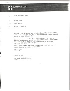 Thumbnail of Memorandum from Judy Stott to Peter Kuhn