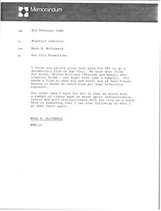 Memorandum from Mark H. McCormack to Alastair Johnston
