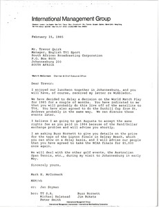 Thumbnail of Letter from Mark H. McCormack to Trevor Quirk