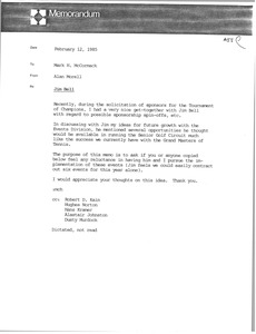 Thumbnail of Memorandum from Alan Morell to Mark H. McCormack