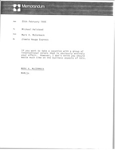 Thumbnail of Memorandum Mark H. McCormack to Michael Halstead
