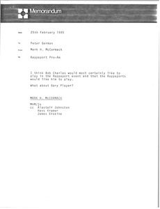 Thumbnail of Memorandum Mark H. McCormack to Peter German