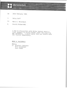 Thumbnail of Memorandum from Betsy Goff to Mark H. McCormack