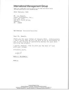 Thumbnail of Letter from Mark H. McCormack to Lou Nemeth