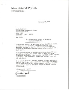Thumbnail of Letter from Lynton Taylor to Mark H. McCormack