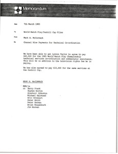 Thumbnail of Memorandum from Mark H. McCormack to World Match Play Dunhill Cup files