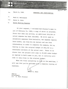 Thumbnail of Memorandum from Peter A. Kuhn to Mark H. McCormack
