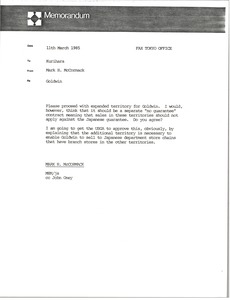 Thumbnail of Memorandum from Mark H. McCormack to Hiroshi Kurihara