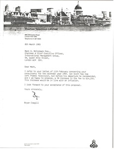 Thumbnail of Letter from Bryan Cowgill to Mark H. McCormack