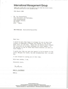 Thumbnail of Letter from Mark H. McCormack to Lou Porterfield