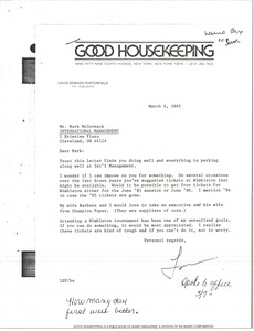 Thumbnail of Letter from Lou Porterfield to Mark H. McCormack