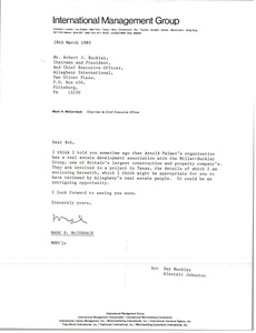 Thumbnail of Letter from Mark H. McCormack to Robert J. Buckley