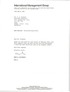 Thumbnail of Letter from Mark H. McCormack to A. D. Cormack