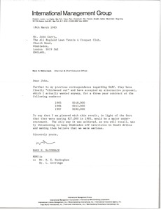 Thumbnail of Letter from Mark H. McCormack to John Curry