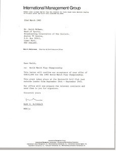 Thumbnail of Letter from Mark H. McCormack to Keith McEwen