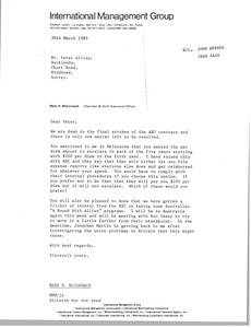 Thumbnail of Letter from Mark H. McCormack to Peter Alliss