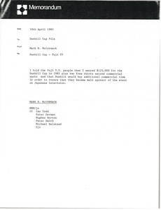 Thumbnail of Memorandum from Mark H. McCormack to Dunhill Cup file