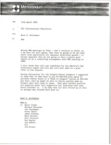 Thumbnail of Memorandum from Mark H. McCormack to Trans World International executives