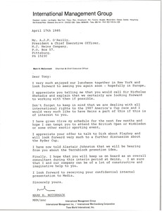 Thumbnail of Letter from Mark H. McCormack to A. J. F. O'Reilly