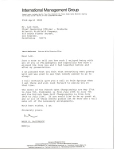 Thumbnail of Letter from Mark H. McCormack to Lod Cook