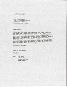 Thumbnail of Letter from Mark H. McCormack to Deane Funk