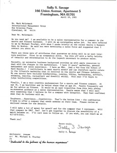 Thumbnail of Letter from Sally S. Savage to Mark H. McCormack
