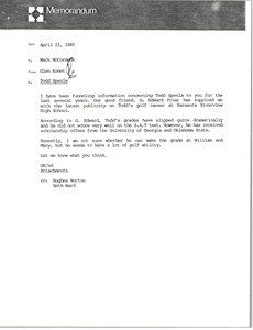 Thumbnail of Memorandum from Glen Konet to Mark H. McCormack