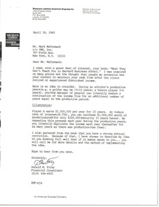 Thumbnail of Letter from Donald M. Foley to Mark H. McCormack