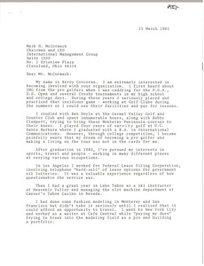 Thumbnail of Letter from Kerry Corcoran to Mark H.             McCormack.