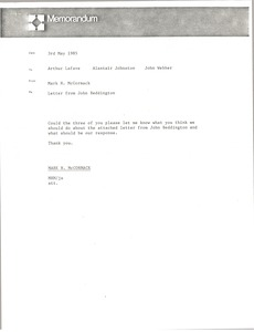 Thumbnail of Memorandum from Mark H. McCormack to Arthur Lafave, Alastair Johnston and John             Webber