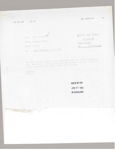 Thumbnail of Fax from Graeme Hannan to Bev Norwood