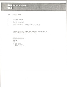 Thumbnail of Memorandum from Mark H. McCormack to Erik van Dillen