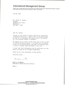 Thumbnail of Letter from Mark H. McCormack to Thomas B. Heaney