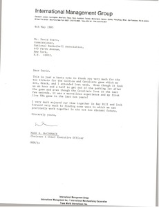 Thumbnail of Letter from Mark H. McCormack to David Stern
