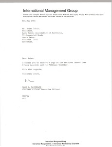 Thumbnail of Letter from Mark H. McCormack to Brian Tobin