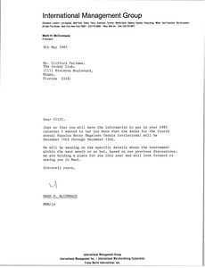 Thumbnail of Letter from Mark H. McCormack to Clifford Perlman