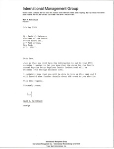 Thumbnail of Letter from Mark H. McCormack to David J. Mahoney