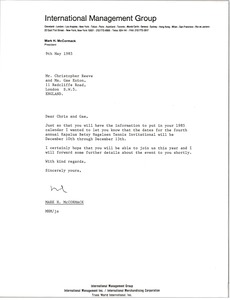 Thumbnail of Letter from Mark H. McCormack to Christopher Reeve and Gae Exton