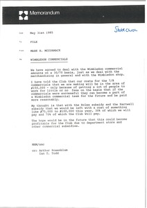 Thumbnail of Memorandum from Mark H. McCormack concerning Wimbledon commercials
