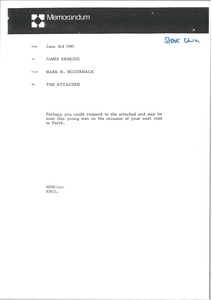 Thumbnail of Memorandum from Mark H. McCormack to James Erskine