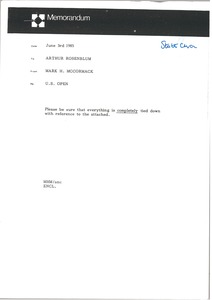 Thumbnail of Memorandum from Mark H. McCormack to Arthur Rosenblum