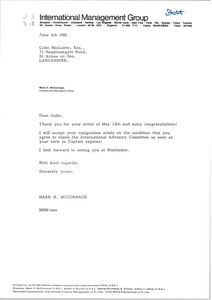 Thumbnail of Letter from Mark H. McCormack to Colin MacLaine