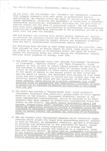 Thumbnail of Letter from Mark H. McCormack to Men's International Professional Tennis Council