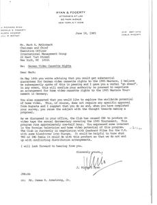 Letter from J. Richard Ryan to Mark H. McCormack