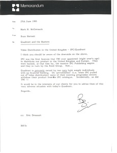 Thumbnail of Memorandum from Buzz Hornett to Mark H. McCormack
